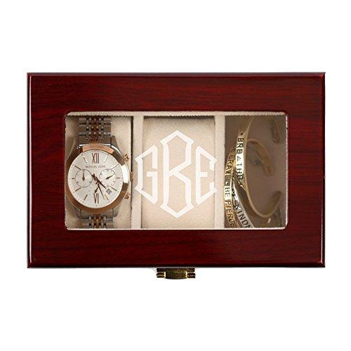 Personalisierte Direct Herren 's Monogramm 3Slot Cherry Finish Holz Watch Fall