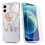 Elephant Phone Case for iPhone XR with Screen Protector,Bunny Birthday Clear Pattern Soft & Flexible TPU Ultra-Thin Shockproof Transparent Bumper Protective Case for iPhone XR 6.1'-Birthday Bunny