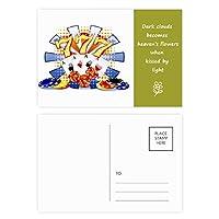 カジノのダイスポーカーチップのイラスト 詩のポストカードセットサンクスカード郵送側20個