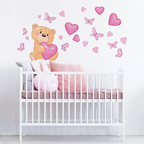 R00011 Adesivi Murali SofficeEffetto Tessuto OrsettoDecorazione Muro Bambino Neonato Nursery Cameretta Asilo Nido Carta da Parati Adesiva