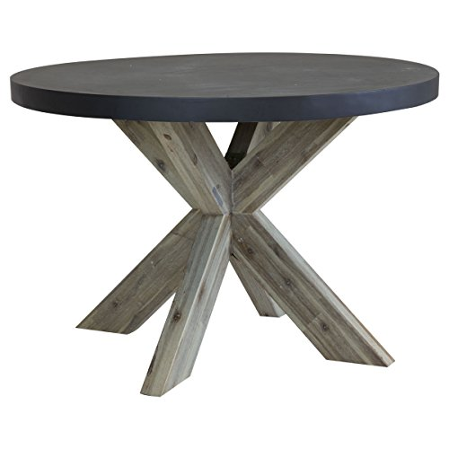 Charles Bentley Round Fibre Cement & Acacia Wood Industrial Indoor Outdoor Dining Table - Grey & White Washed Wood