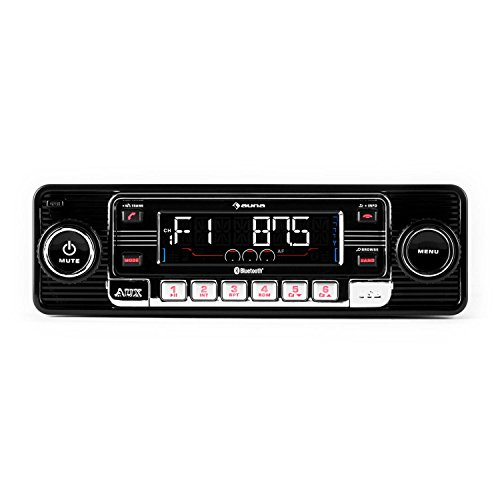 auna RMD-Sender-One - AUX-Freisprechanlage, Retro Autoradio, schwarz, Car-HiFi-Set RMD-Sender-One, Bluetooth, Car-Radio, USB- & SD/MMC-Slot, UKW-Radiotuner, MP3-Playern