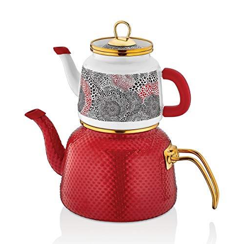 Schafer Glaze Emaille Teekannen-Set, 4-teilig, Rot