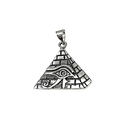 Colgante plata Ley 925m oxidado ojo Horus pirámide amuleto [AB1622]
