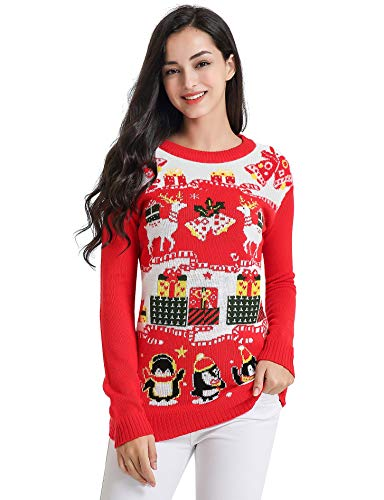 v28 Ugly Christmas Sweater for Women Vintage Funny Merry Tunic Knit Sweaters (Large, Deer Penguin red)
