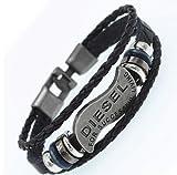 Bracelet tressé en cuir, Bracelet Design Homme Femme, Bracelet Avec des Perles de Bois Punk Rock, Bracelet Moderne Homme et Femme, Bracelet Mode, Couleur Noir