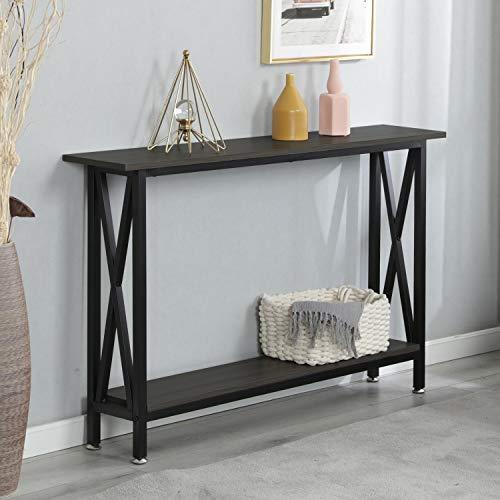 soges Console Table Hallway Entry Table con estantes Salón Sofá Mesa Estructura de Metal Resistente, DX-125-BR