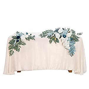 Ling's moment Artificial Flower Swag Floral Arrangement Centerpiece for Wedding Reception Sweetheart Table Decorations Tablecloth Included