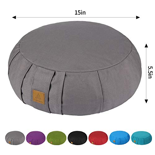 FelizMax Round Zafu Meditation Cushion, Zabuton Meditation Pillow, Yoga Bolster/Pillow, Floor seat, Zippered Organic Cotton Cover, Natural Buckwheat, Kneeling Pillow - Grey and Large