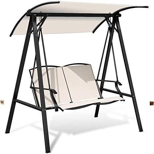 DNNAL Patio Swing-Stuhl, 2-Personen Verstellbare Überdachung Im Freien Moderne Canopy Schaukel Hängesitze Veranda Garten am Pool,Weiß