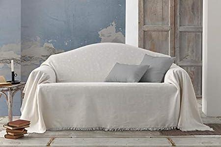 HIPERMANTA Colcha Foulard Multiusos Jacquard Modelo Estrellas para sofá y para Cama, Algodón-Poliéster, 225x285 cms. Crudo.