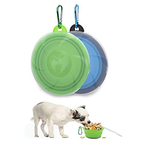 2 Piezas 450ml Comedero Plegable Perro,Cuenco Plegable Perro,Material de Silicona de Grado Alimenticio,con Tapa,con Hebilla de Seguridad,Cuenco Portátil de Viaje para Perros y Gatos (Azul + Ve