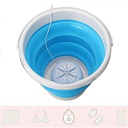SHOUJIK Tragbare Waschmaschine Faltbar Ultraschall Turbinen Mini Waschmaschine Bequeme Wäsche für Camping Apartments Wohnheime Business Trip