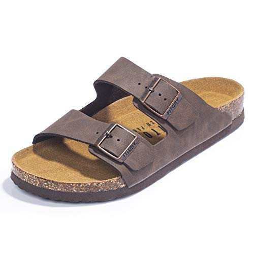 FITORY Mens Sandals, Arch Support Slides with Adjustable Buckle Straps and Cork Footbed Brown Size 11