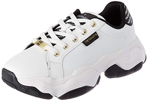 Trussardi Jeans by Trussardi Damen Abeila Action Leather Gymnastikschuh, White/Black, 35 EU