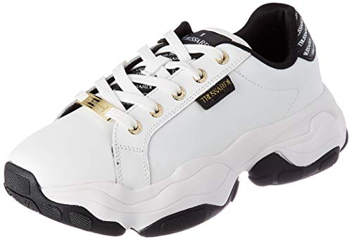 Trussardi Jeans ABEILA Action Leather, Scarpe da Ginnastica Donna, White/Black, 35 EU
