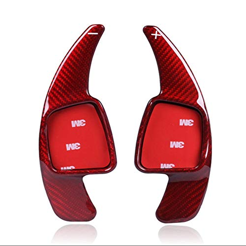 Topsmart Carbon Fiber Car Steering Wheel Shift Blade Paddle Shifter Extension Compatible for Audi A3 S3 A4 A5 S5 2017+ SQ5 A8 R8 2018+ Q7 2016-2019 TT 2015-2018 TTS 2016-2018 (Red)