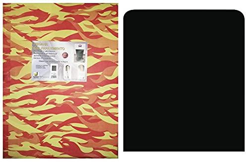 Plataforma protectora de pisos, color negro, para estufa de leña y pellets, de 60 cm x 70 cm.