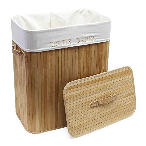 Wäschebox aus Bambus, 105L mit Leinensack, natur Aufbewahrungsbox Wäschekorb faltbar