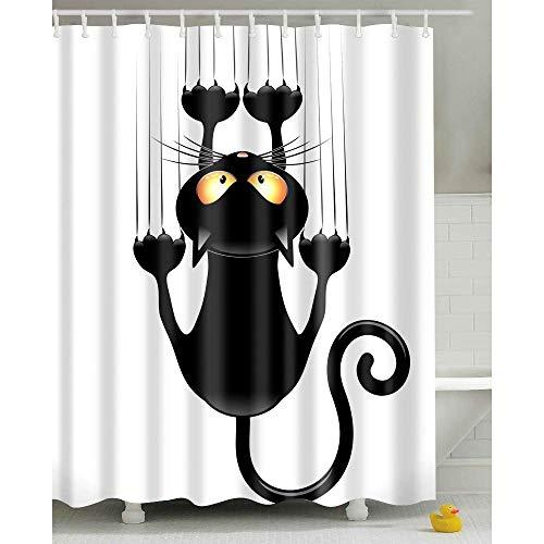 Langing - Cortina de ducha con diseño de gato humorístico con ganchos