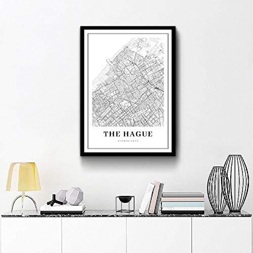Wydlb Den HAAG kaart drukken Nederland kaart kunst poster stad straat kaart kunst canvas schilderij afbeelding Home Room Wall Art Decor 60x80 cm Geen lijst