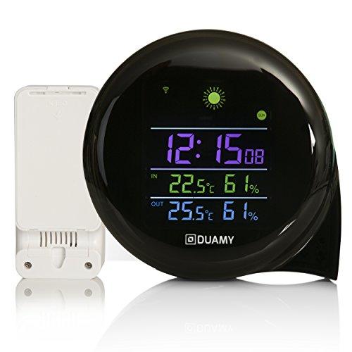 DUAMY Estación meteorológica móvil con Sensor inalámbrico Exterior. Reloj de Mesa, medición de Temperatura y Humedad.Termómetro, Higrómetro y Despertador incorporados en Nuestro Reloj meteorológico