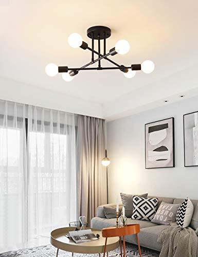 Dellemade 6-Licht Vintage Kronleuchter Bündig Deckenleuchte für Esszimmer, Schlafzimmer, Büro, Arbeitszimmer oder Küche (Schwarz)