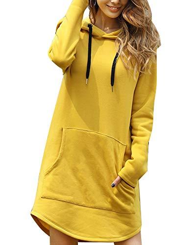 Kapuzenpullover Damen Lang Damen Hoodie Kleid Hoodie Lang Damen mit Kapuze Herbst Minikleid Sweatshirt Lang Oversize Mit Tasche (38, Gelb)