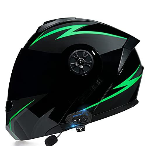Casco Moto Modular Bluetooth, Casco de Moto Scooter Mujer Hombre con Doble Visera, ECE Homologado Casco de Motocicleta Integrado para Adultos (Color : H, Size : (S=55-56CM))