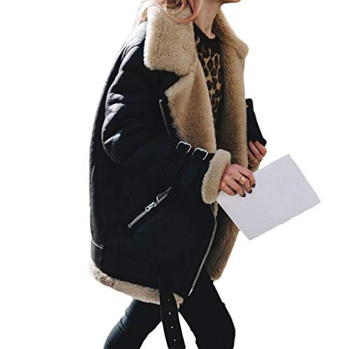 JEELINBORE Chaquetas Moteras Forradas Cálidas de Piel sintética para Mujer Cremallera Chaqueta de Moto Outwear (Negro, CN L)