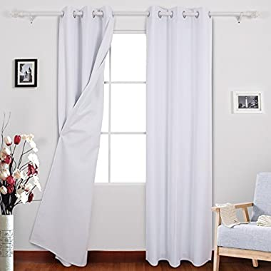 Deconovo Full Blackout Curtains Pair Heavy Thick Window Treatment Sets Covering with White Coating Layer for Sliding Glass Door 38W x 84L Inch Pure White 2 Panels