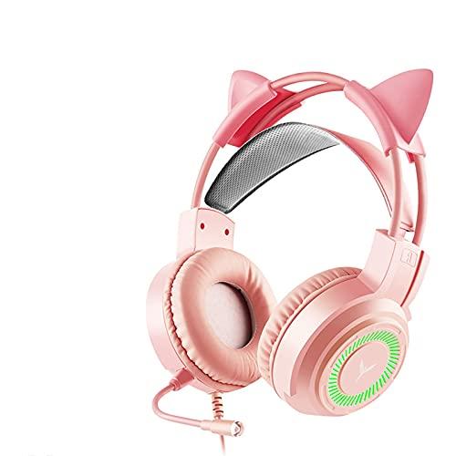 XXH Auriculares de juego para juegos montados en la cabeza, auriculares con cable de 7.1 canales, iluminación RGB, unidad de altavoz de 50 mm, llamada de alta definición solo enchufe (3.5 mm)