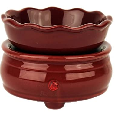 Original Candle Warmer - Electric 2-in-1 Fragrance Air Freshener - 2 Piece Ceramic Melt Tart Wax Cube Melter - Eliminate Odors - Burgundy