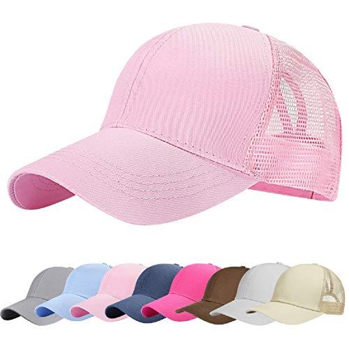 UMIPUBO Sombreros Gorra de Malla s Adjustable al Aire Libre Cap clásico Algodón Casual Sombrero Gorras de Béisbol para Hombre Mujer (Rosa)
