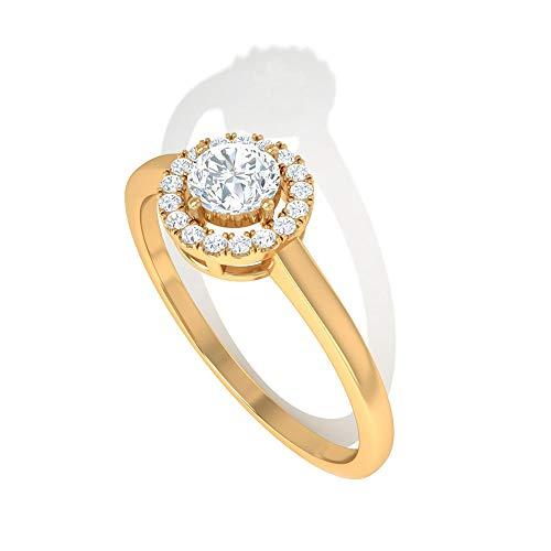 0,5 Karat Diamant IGI Certified Halo Ring, zierliche Frauen Arbeitskleidung Statement Ring, HI-SI Farbe Klarheit Diamant Solitär Versprechen Ring, Jahrestag Goldring, 18K Gelbes Gold, Size:EU 44