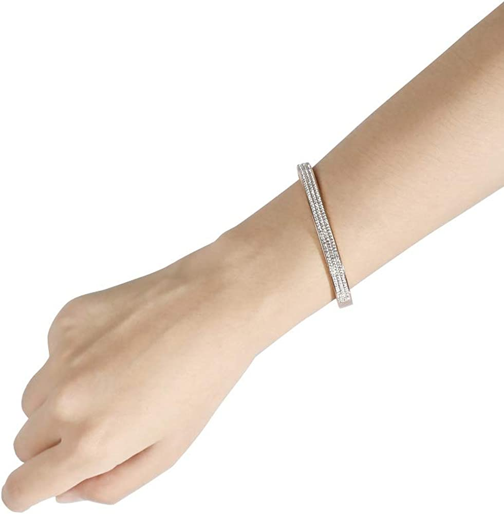 Rose Gold Plated Bracelet for Women - Friendship Bracelet with 188 Hand-Inlaid Zircons,Titanium Steel Hinged Jewelry with Crystai Oval Bracelet – Gift Idea for Women