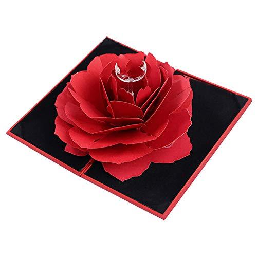 LDYQ Caja para Anillos con Flor De Rosa En 3D Porta Alianzas Boda Anillo Compromiso Caja para Propuesta De Matrimonio Compromiso Boda El DíA De San ValentíN Caja Regalo