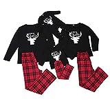 Conjunto de Pijamas Navideños para Familia Padre Madre Bebé 2 Piezas Top Negro de Mangas Largas Estampado de Alces y Letras + Pantalones a Cuadros Rojos (Recién Nacido, 9-12 Meses)