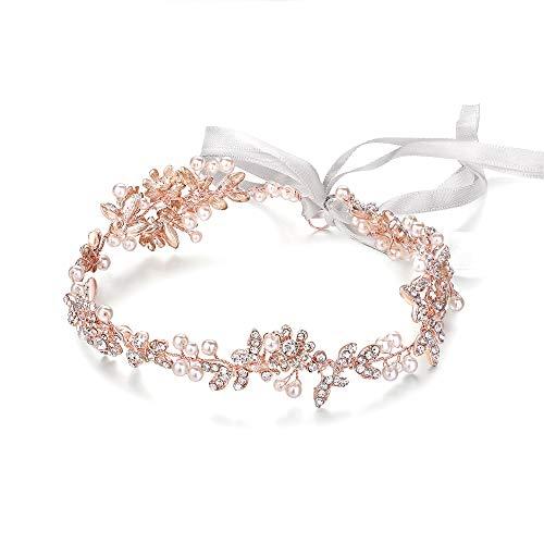 Ammei Bridal Headbands Crystal Pearl Hair Vines Bohemian Style Wedding Headpieces For Bride Wedding Hair Accessories (Rose Gold)