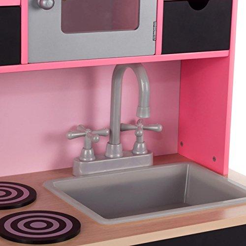 Baby Vivo Kinderküche Spielküche aus Holz Kinderspielküche Küche Holzküche Spielzeugküche mit Tafel - Mila in Rosa - 5