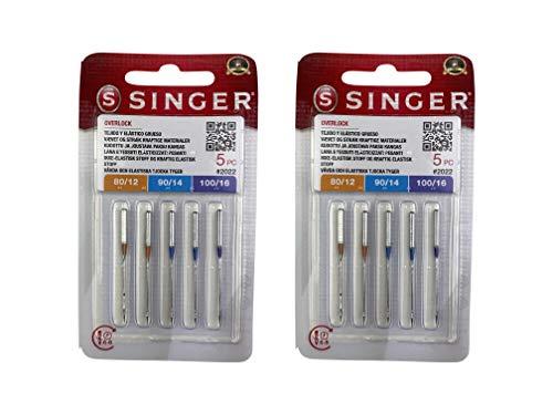 Singer Pack de 2 Paquetes de Agujas Overlock Singer 2022 ELx705 para Máquina de Coser Remalladora Singer 14SH