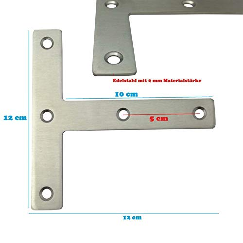 10x Edelstahl Flachverbinder T-Winkel Holzverbinder ideal für Innen- & Außenbereich - Lochplatte in 3 verschiedenen Größen (12 x 12 x 0,2 cm)