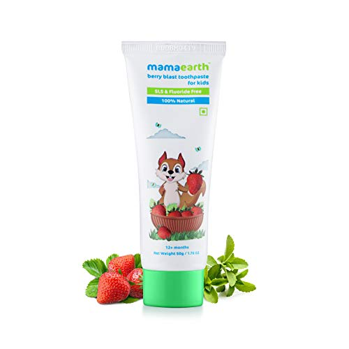 Mamaearth Natural Berry Blast Kids Toothpaste for Babies for Oral and Dental Hygiene, Made in The Himalayas- All Natural with Organic Ingredients
