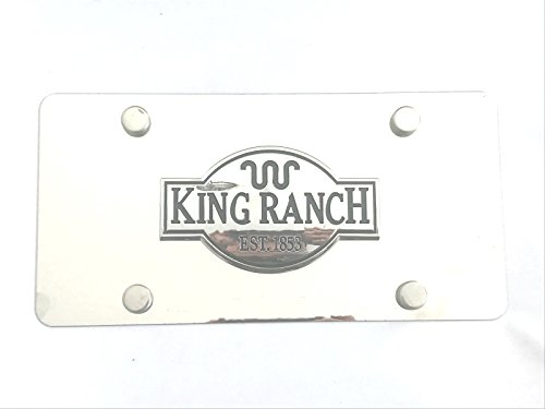 Woowin 3D King Ranch Logo F150 250 350 Emblem Stainless Steel License Metal Plate Tag With Anti-Theft Screws Caps 4 Holes For Ford F150 (Chrome)