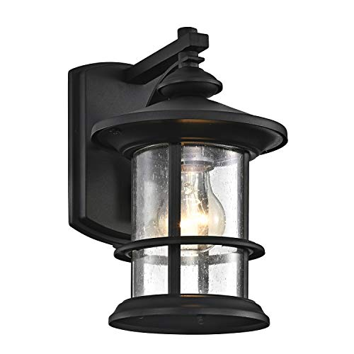 MICSIU Outdoor Wall Light Fixture Exterior Wall Mount Lantern Waterproof Vintage Wall Sconce with Clear Seedy Glass for Front Porch, Patio, Backyard ( Textured Black ,1 Pack)