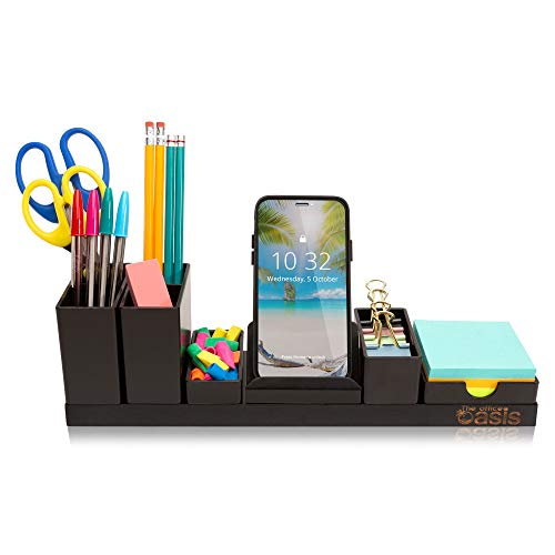Desk Organizer with Adjustable Pen Holder, Pencil Cup, Phone Stand, Sticky Note Tray, Paperclip...