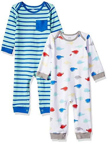 Amazon Essentials - Pack de 2 peleles para niño, Boy Dino, US 0-3M (EU 56-62)