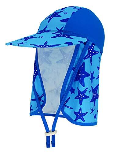 Kids Swim Flap Hat Beach Legionnaire Hat for Children UPF50+ Flap Sun Protection Swim Hat with Chin Strap - Starfish, Blue