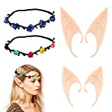 Dos pares de orejas de hadas,dos coronas de hadas,orejas puntiagudas,orejas de látex,adecuadas para juegos de rol,Halloween,carnaval