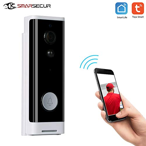SMARSECUR® TY-L2 Video Türklingel mit Kamera,1080P HD Video Doorbell, Gegensprechfunktion, 1 Innen-Gong,IP65 Wasserdicht, Bewegungsmelder, Kompatibel mit Alexa/Google Echo